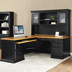 "Left Return L-Desk with Hutch - 68.25""W, 16016"