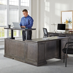 "Statesman Adjustable Height L-Desk with Right Return - 65""W, 16384"