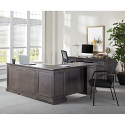 Statesman Adjustable Height L-Desk with Right Return and Credenza Set, 16385