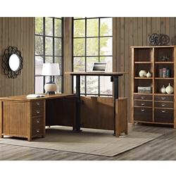 Adjustable Height L-Desk and Bookcase Set, 86458