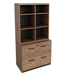 "Urban Two Drawer Lateral File with Bookcase Hutch - 36""W , 86542"