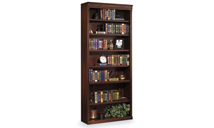 "Burnished Oak 84"" Seven Shelf Bookcase, 32727"