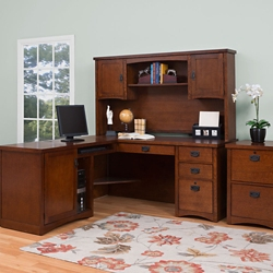 L-Desk with Hutch and Vertical File, 86278