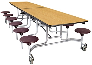 "10' Cafeteria Table with 12 Stools - 30""W x 121""D, 47101"