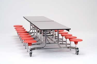 "12' Cafeteria Table with 16 Stools - 30""W x 145""D, 47103"