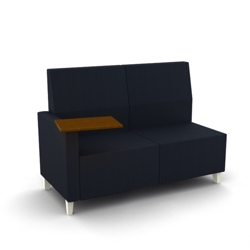 Modern Fabric or Vinyl Loveseat with Tablet Arm , 25794