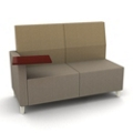 Modern Two Tone Fabric Loveseat with Tablet Arm , 25805