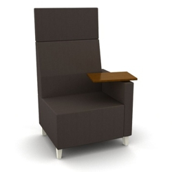 Modern High Back Fabric or Vinyl Chair with Tablet Arm, 25810