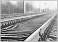 "Railroad Track Framed Canvas Photography Print - 60""W x 44""H, 92621"
