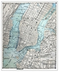 "Old NYC Street Framed Canvas Map Print - 28""W x 34""H, 92633"