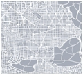 "Abstract City Plan Framed Canvas Map Print - 48""W x 43""H, 92636"