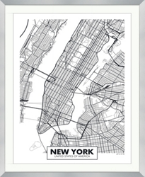 "NYC Framed Map Print - 40""W x 49""H, 92637"