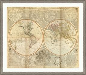 "Vintage World Framed Map Print - 48""W x 42""H, 92638"