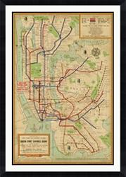 "New York Framed Map Print - 40""W x 56""H, 92639"
