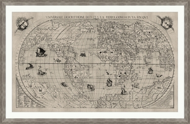 "World Map Framed Art Print - 60""W x 39""H, 92644"