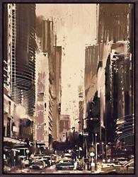 "City Street Framed Canvas Art Print - 28""W x 36""H, 92645"