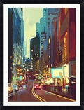 "Street in Modern City Framed Art Print - 40""W x 52""H, 92647"