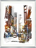 "Abstract Cityscape Framed Art Print - 40""W x 52""H, 92649"