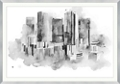 "Watercolor Drawing Cityscape Framed Art Print - 60""W x 42""H, 92654"