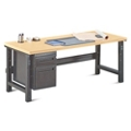 "Annex Industrial Adjustable Height Executive Desk with Pedestal - 72""W , 14327"
