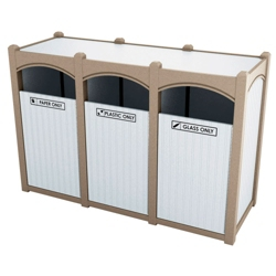 Triple Sideload Bead Board Arch Waste Bin 45 Gallon Capacity., 85545
