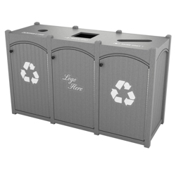 Triple Topload Bead Board Waste Bin 45 Gallon Capacity, 85554