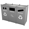 Triple Sideload Bead Board Waste Bin 45 Gallon Capacity, 85563