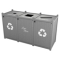 Triple Topload Bead Board Waste Bin 32 Gallon Capacity, 85569
