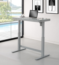 "Adjustable Height Glass Top Desk - 47.25""W x 25.5""D, 14862"