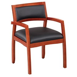 Expressions Set of Four Half Back Faux Leather Wood Frame Chairs, 40049