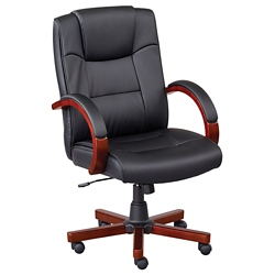 Axial Wood Frame Faux Leather Conference Chairs - Set of Six, 40047