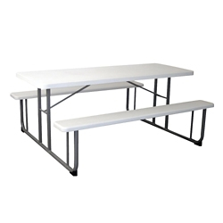 "Rectangular Plastic Picnic Table with Benches - 72""W, 82055"