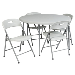 "Lightweight Round Folding Table and Chairs Set - 38"" Diameter, 41028"