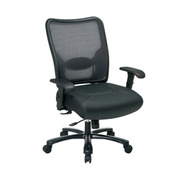 Big and Tall Mesh Chair with Faux Leather Seat, 50994