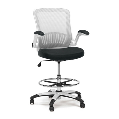 Attractive Linear Vertical Mesh Drafting Stool With Flip Arms, 56068