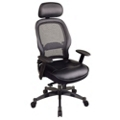 Office Chair with Leather Seat and Headrest, 56936