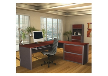 Reversible L-Shaped Desk and File with Hutch, 13477