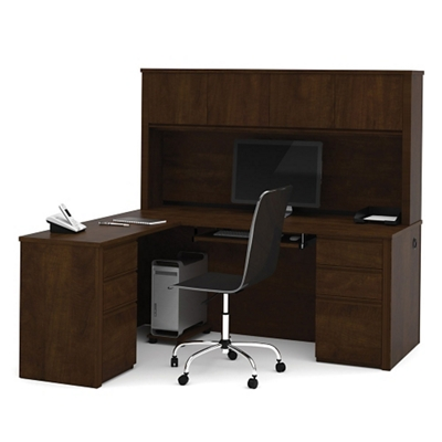 Reversible L Shaped Desk With Hutch, 13493