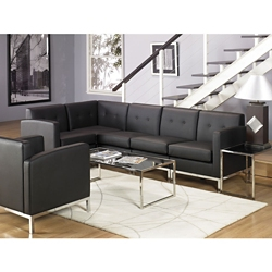 Faux Leather L-Shaped Sofa, 86228