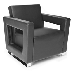 """Faux Leather Square Arm Reception Chair - 29""""W, 76279"""