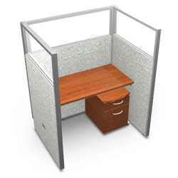 "Single Workstation with Clear Top and Mobile File - 48""W x 63""H, 13641"