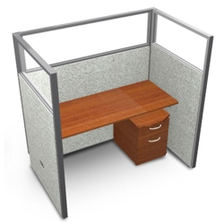 "Single Workstation with Clear Top and Mobile File - 60""W x 63""H, 13643"