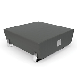 "Square Vinyl Bench with Chrome Legs and Charging Outlets - 48""W, 26393"