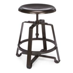 Short Adjustable Height Metal Seat Stool, 50980