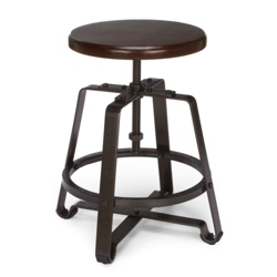 Small Adjustable Height Solid Wood Seat Stool, 50981
