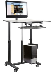Mobile Sit & Stand Cart with Monitor Arm, 43508