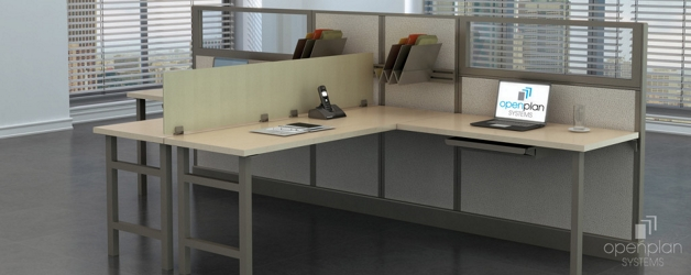"Double L-Desk Workstations - 120""W x 74""D , 14597"