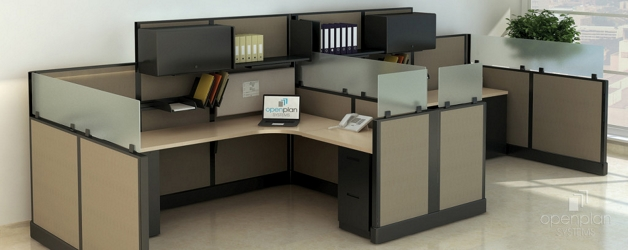 "Double L-Desk Workstation with Storage - 138""W x 74""D, 14603"