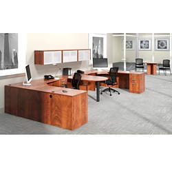 """Contemporary Two Person Workstation with Wall Storage - 180""""W x 72""""D, 14726"""