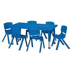 """Rectangle Table with Six 12""""H Chairs, 46550"""